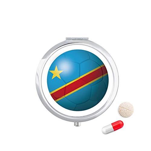 DIYthinker Congo Nationale Vlag Voetbal Reizen Pocket Pill Case Medicine Drug Opbergdoos Dispenser Spiegel Gift