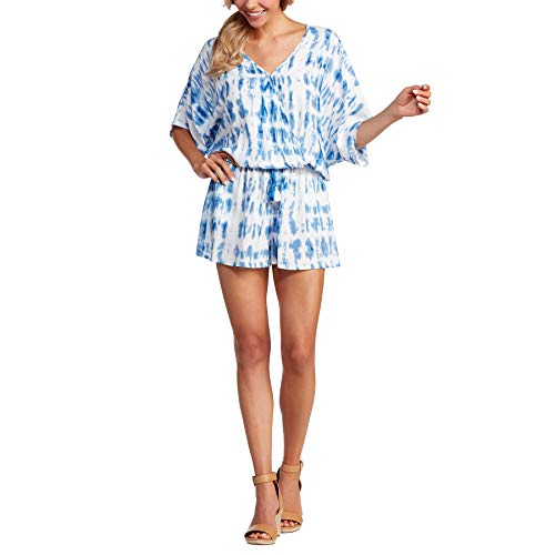 Mud Pie Women's Madelyn Kimono Romper, Blue, Large