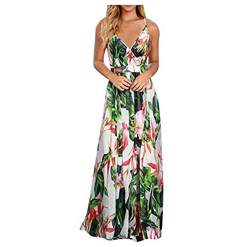 Damen Sommerkleider Partykleid Rundhals Ärmellos Blumendruck Kleider Abendkleider A-Linie Hoher Taille Kleid Frauenkleid Knielang