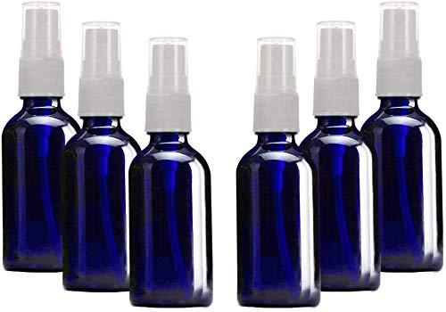 【漏れなし】SHINEZONE スプレーボトル 30ml 6本 遮光 ガラス製 スプレー容器 詰替ボトル 携帯 ボトル ト香水のための化粧品容器、再利用 (30ml, ?色的 青い)