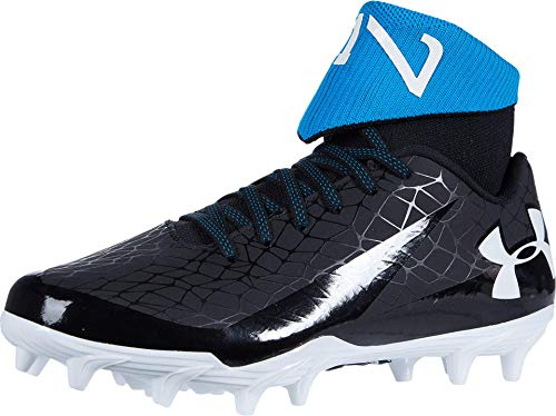 Under Armour boys C1n Mc Jr Football Shoe, Black/White, 4.5 Big Kid US
