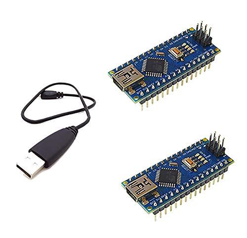AptoFun Nano V3.0 con Org.ATmega328P / FT232RL Placa de Desarrollo de Chip con Cable USB, Compatible con Arduino (2 Blue)