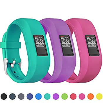 Mosstek Bands Compatible with Garmin Vivofit 3/jr/jr 2 Soft Silicone Replacement Sport Wristbands for Kids Girls Boys Women Men Small Large