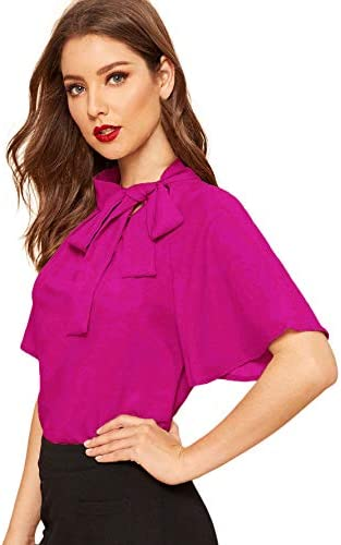 SheIn Women s Casual Side Bow Tie Neck Short Sleeve Blouse Shirt Top X Large Hot Pink product image