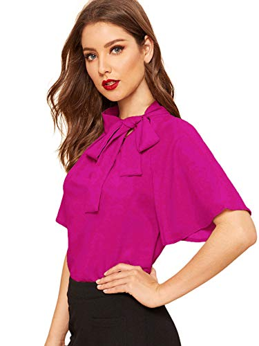SheIn Women's Casual Side Bow Tie Neck Short Sleeve Blouse Shirt Top Large Hot Pink