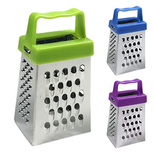FINIVE Rallador de verduras manual práctico de 4 caras en caja rallador de acero inoxidable reutilizable morado