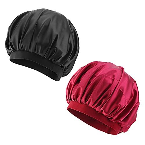 Pinsheng 2 Pezzi Satin Capuchon de Sommeil, Bonnet Satin Cheveux Nuit avec Élastique Bande pour Adultes Femmes, Ajustable Chapeau Nuit en Satin pour le Maquillage de Sommeil de Douche (Noir + Rouge)