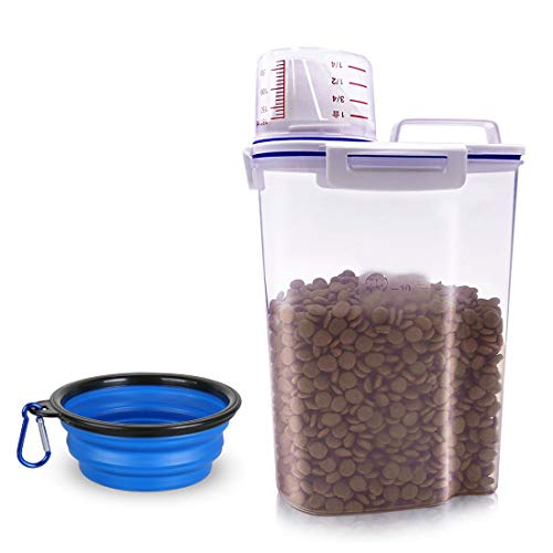 TIOVERY Pet Food Storage Container, Small Dog Food Container Airtight Plastic Dispenser with Graduated Measuring Cup, Pour Spout and Portable Handle for Cats Birds Seed