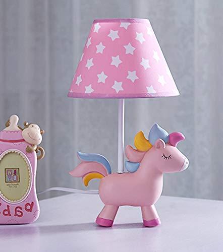 SMC Tischlampe Kinderzimmer Cartoon Einhorn Tischlampe Schlafzimmer Nachttischlampe kreative romantische warme Mädchen Junge Tischlampe (Color : Button switch)