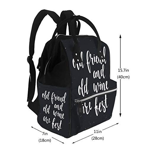 Diaper Bags Backpack Old Friend Old Wine are Best Large Capacity Muti-Function Travel Backpack