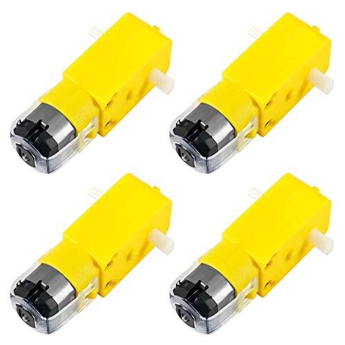 Motor de engranaje eléctrico 4 piezas DC Motor eléctrico TT 3V-6V Eje doble para robot de coche inteligente Arduino Kit DIY para coche eléctrico DIY coche juguete coche (color: amarillo)