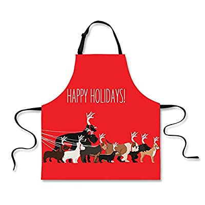 FOR U DESIGNS Xmas Bib Aprons for Kitchen Cooking Christmas Dinner Custume Waiter Waitress Dress with Adjustable Neck Stripe