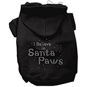Mirage Pet Products 10-Inch I Believe in Santa Paws Hoodie, Small, Black
