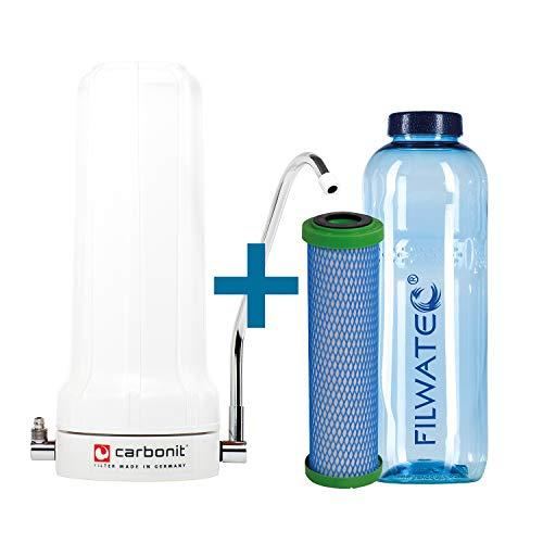 filwatec Carbonit SanUNO Basic I EM Premium-5 Monoblock Membran I Wasserfilter Auftischfilter I Trinkwasseraufbereitung Aktivkohlefilter I Wasserfilter Trinkflasche
