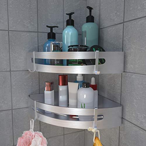 Estanteria Ducha Sin Taladros, RenFox Estantería Baño Esquina Estante Baño Adhesivo Rinconera Ducha Aluminio Estanteria Organizador Pared Para Baño y Cocina, con 4 Ganchos (Triangular, 2 Piezas)