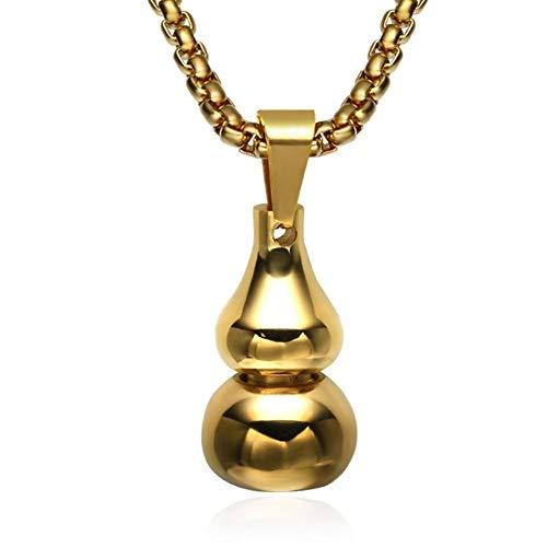 FKJSP Joyería de la Cadena Colgante Collar de Hombres de Acero Inoxidable Calabaza Plata Oro Tricolor Negro Enfriar Colgante for Hombres Regalo (Color : 60cm, Size : Gold)