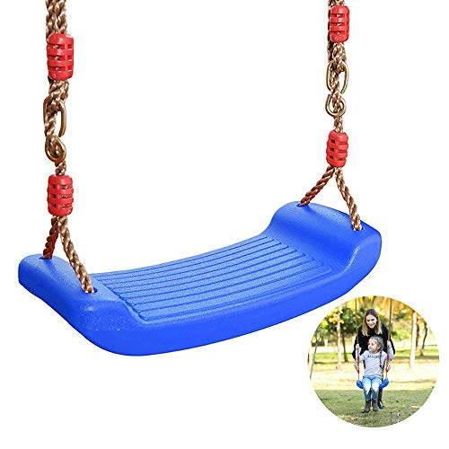 Keyohome Columpio Jardin Asiento con Cuerda Columpio Infantil De Plástico Asiento de Columpio para Bebes Columpio de Árbol Niños para Exterior y Interior con Cuerda Ajustable (Azul)