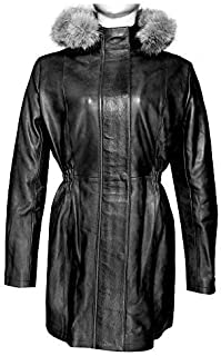 Womens Black Leather Coat Ladies Jacket Removable Hood with Real Fur