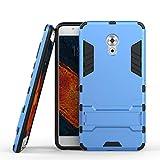 tinyue® Handyhülle für Meizu Pro 6 Plus, Hülle 2 in 1 Material Harte Schwer doppelte kratzfester Handyfall im Freienhandyfall Iron Man Rüstung mit Kickstand Hülle, Blau