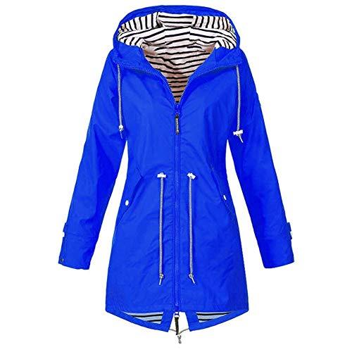 Waterdichte Jassen Vrouwen, Lichtgewicht Waterdicht Transition Lange Mouwen En Capuchon Outdoor Wandelen Kleding Women's Raincoat (Color : Blue, Size : 4XL)