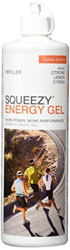 SQUEEZY  Sportlernahrung ENERGY GEL REFILLER, Zitrone, Flasche mit 500 ml Gel zum Wiederauffüllen der 125 ml Flasche, ohne Koffein