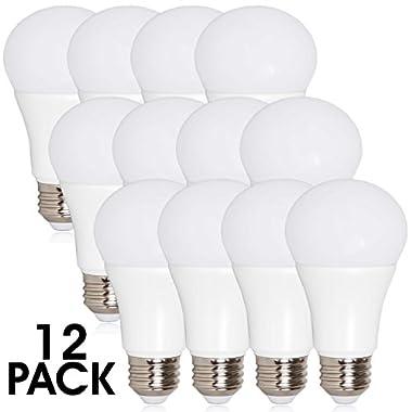 Maxxima LED A19-800 Lumens 60 Watt Equivalent Warm White (2700K) Light Bulb, 10 Watts A19 Bulb (Pack of 12)