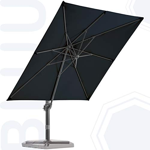 BLUU Sequoia Aluminum 9x9 FT Square Patio Umbrella Cantilever Offset Outdoor Umbrella Market Umbrellas with 360° Rotation Device and Unlimited Tilting System & Cross Base (Navy Blue)
