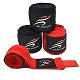 Liwein Fasce Boxe, 4 Pezzi Bende per Mani Polsi Pugilato Elastiche Bendaggi Guanti Interi Sottoguanti per Muay Thai Adulto 3m Nero Rosso