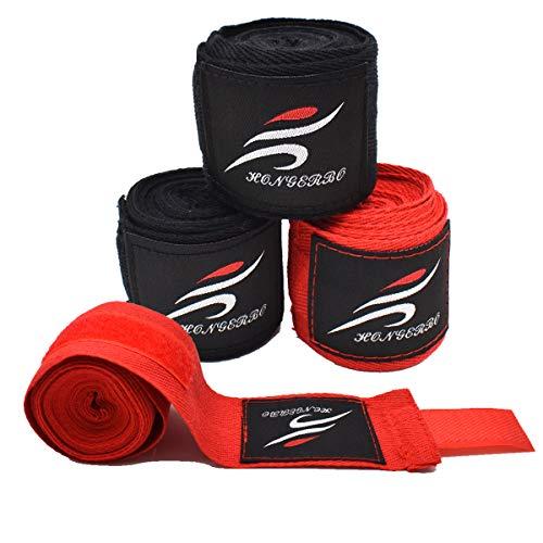 Liwein Boxbandagen,4 Innenhandschuhe Daumenschlaufe Elastisch Boxen Handschuhe für MMA Muay Thai Kickboxen Sparring 3m Schwarz Rot