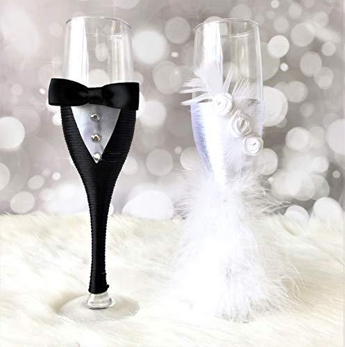 Abbie Home - Copas de champán decoradas para novio y novia, 2 unidades, color negro