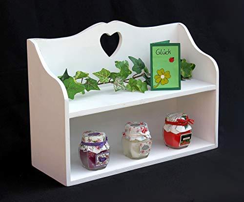DanDiBo Scaffale con Cuore 12048 Mini-scaffale 35 cm Bianco Scaffale Decorato Shabby Stile Country Scaffale spezie
