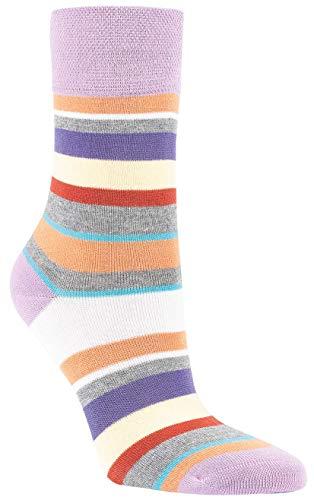 6 Paar Bambus Socken Fresh Stripes Bambussocken Softrand ohne Gummi Damen (39-42)