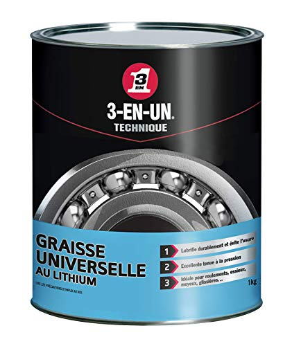 3-EN-UN Technique • Graisse Universelle au Lithium • Pot • Forte adhérence • Résite à l'eau et à la chaleur • Utilisation entre -20°C et +140°C • 1 KG