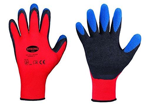 STRONG HAND® 5-Finger-Schutzhandschuhe mit Latex Innenhandbeschichtung Gr.10, 12 Stück (12 Paar)