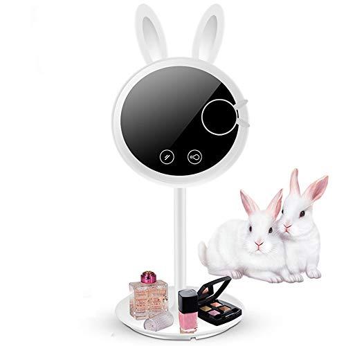 FAGavin Nuevo Conejito LED con Relleno De Luz Espejo De Maquillaje con Luz Inteligente De Relleno Luz De Escritorio Espejo De Maquillaje ABS Pequeño Regalo Blanco