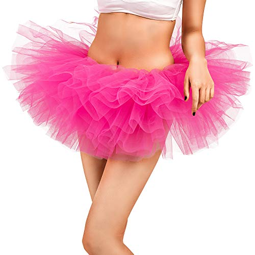 Adult Tutu Skirt, Tulle Tutus for Women, Teens Ballet Skirts Classic 5 Layers Rose