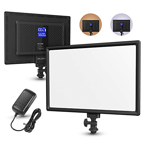 RALENO LED Video Soft Light Panel with LCD Display, for All Camera DSLR Photography, Built-in Battery, Dimmable Brightness Bicolor 3200K-5600K CRI 95+, Ultra-Thin for YouTube Studio Portraits Photo