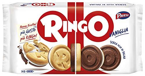 Pavesi Ringo Biscotti Farciti con Crema al gusto Vaniglia per Colazione o Gustoso Snack, Senza Olio di Palma, Formato Famiglia - Confezione da 6 X 55g