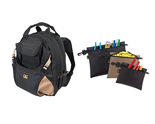 Custom Leathercraft 1134 Tool Backpack, 48-Pocket with Multi-Purpose Clip-on Zippered Poly Bags