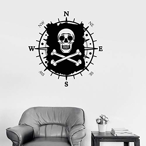 WERWN Bandera de Calavera calcomanías de Pared Mapa Pirata brújula náutica habitación de los niños jardín de Infantes decoración de Interiores Vinilo Ventana Pegatina Mural