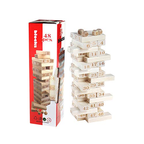 JIYUAN Wooden Tumble Tower Game Building Outdoor Family Traditional Tumble Tower Garden Game(48pcs)