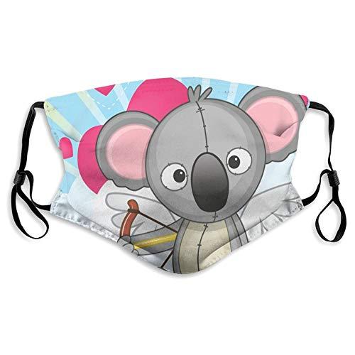 FULIYA Protector de boca y nariz de tela, juguete de oso koala con flechas de amor sentado en nubes y corazones, reutilizable bandana media cara protectora protectora, lavable, longitud ajustable (S)