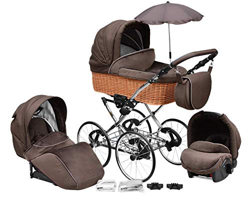 SKYLINE Klassisch Retro Stil Wicker LUX Kombi-Kinderwagen Buggy 3in1 Reise System Autositz (Isofix) (Chocolate Brown/17