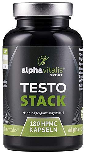 TESTO STACK - Testo Booster Formel hochdosiert - Maca Extrakt, Tribulus Terrestris, D-Asparaginsäure, Bockshornklee, Zink uvm. - 180 Kapseln Testosteronbooster vegan