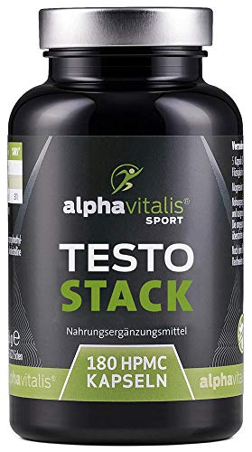 TESTO STACK - Hochdosierter Testo Booster Komplex m. D-Asparaginsäure, Maca Extrakt, Tribulus Terrestris, Bockshornklee, Zink uvm. - 180 Kapseln vegan