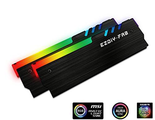 EZDIY-FAB RGB Memoria direccionable RAM refrigerador DDR disipador de Calor PC Mod DDR3 DDR4 (Compatible con ASUS Aura Sync,GIGABYTE RGB Fusion y MSI Mystic Light Sync)-Negro-2 Pack