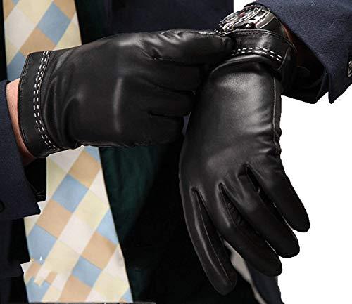 Hommes Noir Gants De Conduite Doigt Gants Gants Gants Cuir Único En Thermiques De La Mode (Color : Noir, Size : L)