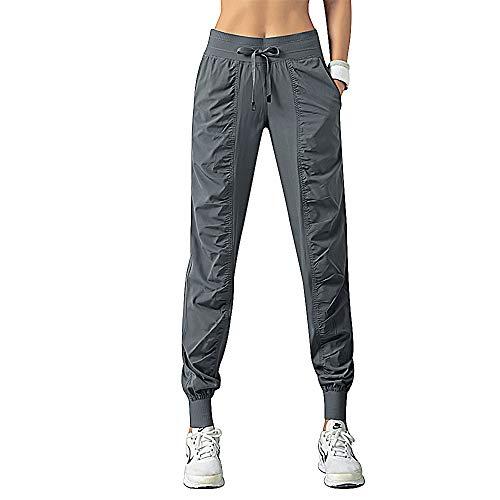 FITTIN Damen Sporthose Jogginghose Traininghose- Lang Sweatpants Laufhose für Jogging, Fußball, Fittness Training, Freizeit Grau M
