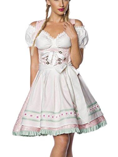 Dirndl Kleid Kostüm mit Schürze Minidirndl mit Blumenborteen Brokat und ausgestelltem Rockteil Oktoberfest Dirndl rosa M