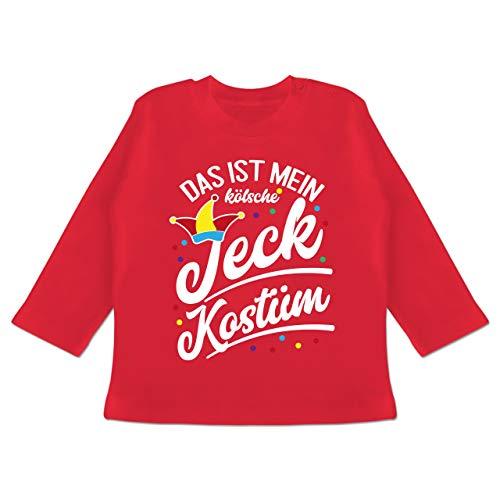Karneval und Fasching Baby - Das ist Mein kölsche Jeck Kostüm - weiß - 18/24 Monate - Rot - Verkleidung Kostüm - BZ11 - Baby T-Shirt Langarm